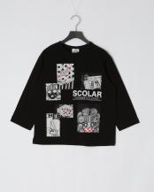 ブラック●STAY HOMEスカラーちゃん七分袖Tシャツ○111053