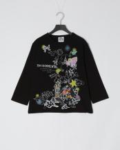 ブラック●キノコメルヘン柄七分Tシャツ○111056