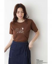 ブラウン●SNOOPYプリントTシャツ ナチュラルビューティB○0170163780