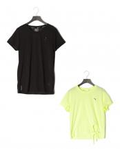 PUMA BLACK/FIZZY YELLOW●STUDIO レース キーホール SS Tシャツ/ウィンターパール タイ Tシャツ○519965/520462