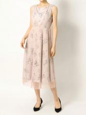 ベージュ●フラワードットプリーツドレス MERCURYDUO○002020302201