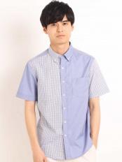 ブルー●チェッククレイジーキリカエシャツ[WEB限定サイズ] a.v.v HOMME○KHBGG37049