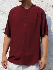 パープル●レーヨンアサバンドカラーシャツ a.v.v HOMME○KHBHG60044