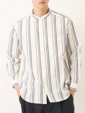 アイボリー●ワイドシルエットバンドカラーシャツ a.v.v HOMME○KHBEM03039