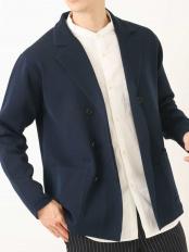 ネイビー●【洗濯機で洗える】ミラノリブダブルブレストジャケット a.v.v HOMME○KHCEM01069