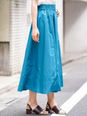ブルー 【洗える】ロングギャザースカート MK MICHEL KLEIN○FUHGG04130