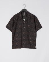 バティッククロ●ポリ総柄オープンシャツ(バティック柄)○114014H