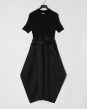Black●ニット+布帛ベルト付きハーブスリーブワンピース○RO-19098