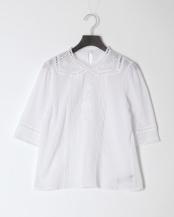 OFF WHITE●ローズ刺繍ノーカラーブラウス○34BF02h023
