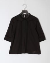 BLACK●ローズ刺繍ノーカラーブラウス○34BF02h023