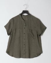 オリーブ●リネンC/N胸ポケ半袖SH○0-0012-3-21-010