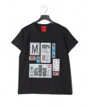 ブラック●STICKERSプリント<br>半袖Tシャツ○T-SHIRT STICKERS