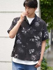 ブラック●【ワイドシルエット】アロハガラオープンカラーシャツ a.v.v HOMME○KHBGJ41049