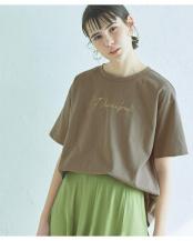 グレージュ●ロゴプリント半袖Tシャツ○AVJN0286