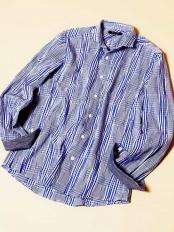ブルー●シャツ(タックグレンチェック) MICHEL KLEIN HOMME○MNBGJ31190