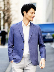 ブルー●【洗える】ジャケット(Denim Look) MICHEL KLEIN HOMME○MNDGJ40430