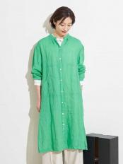 グリーン●【洗える】ロングシャツブラウス GEORGES RECH○PZBGJ60190