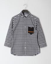 紺系チェック●オックスハンドステッチ七分袖○0-0093-2-51-300