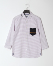紫系柄物●オックスハンドステッチ七分袖○0-0093-2-51-300