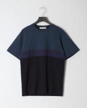 ネイビー系●ポンチ切り替えTシャツ○0-0692-2-53-320