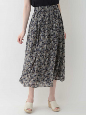 ネイビー●【洗える】ボタニカルプリントスカート OFUON○EUHHJ56119