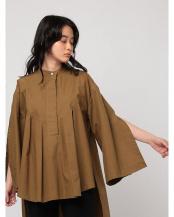 BROWN●バンドカラースリットタックシャツ○1221210039-0
