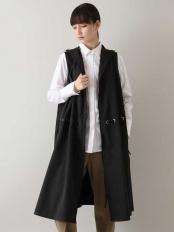 ブラック●【洗濯機で洗える】ハトメデザインロングベスト TRUNK HIROKO KOSHINO○RSDEM43450