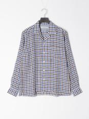 青色チェック●シャツ○1-0804-2-51-008