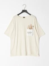 アイボリー●KUMAPANポケット綿麻Tシャツ○312011