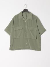 グリーン●ビッグポケットステッチシャツ○114017H