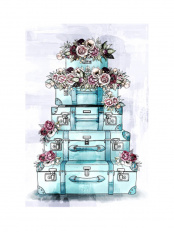 38.1×25.4●FLORAL LUGGAGE STACK○39127