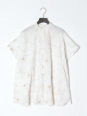 ドリーフラワー刺繡ロングシャツ○21S064WH