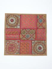 刺繍クッションカバー カーキ○J15140-016KH