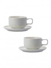 Matte White●KNIT CoffeeCup&Saucer 2客セット○KT1234115MWx2&KT1282114MWx2