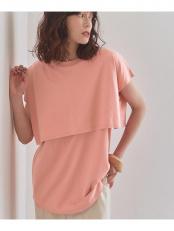 ピンク●レイヤードデザインTシャツ○AXXT0027