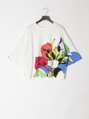 オフホワイト●花アート柄ワイドTシャツ○112663