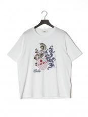 ホワイト●プリント 半袖Tシャツ○6227847