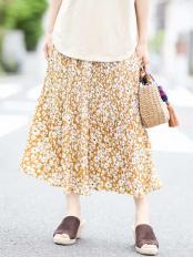 ベージュ●【洗える】花柄プリントプリーツスカート a.v.v○K2HFJ09049