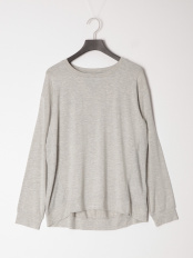 Light Grey Heather●Waffle Paneled Long-sleeve Tee with Outl○TB0B2504C811