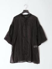 ブラック●オーガンジーロングバンドカラーシャツ○13-1658