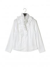 白●コットンストレッチハイカラーフリル長袖ブラウス○100201230