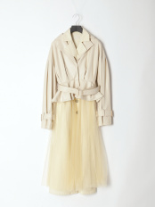 IVORY●hybrid leather tule spring coat○1121100618-0