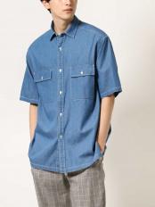 ライトブルー●【BIG SHIRTS】デニムダブルポケットBIGシャツ a.v.v HOMME○KHBHM74059