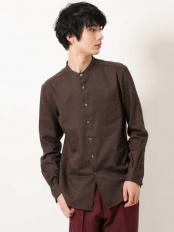 ブラウン●ビエラバンドシャツ a.v.v HOMME○KHBJJ12039