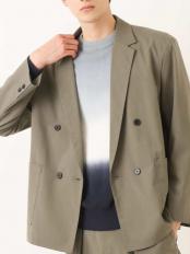 カーキ●【洗濯機で洗える/ストレッチ】オーバーサイズダブルブレステッドジャケット a.v.v HOMME○KHJEM09099
