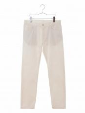 ホワイト サテンストレッチ5ポケットパンツ[WEB限定サイズ] a.v.v HOMME○KHLAG23059