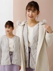 ライトグレー●【洗える】調温機能中綿キルトジャケット a.v.v○K2JAM04059