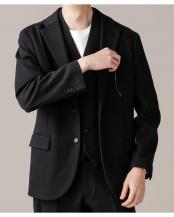 ブラック●交編ダブルジャージジャケット RG ナノ・ユニバースメンズ(オリジナル)○6689217025