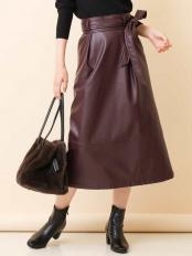 ダークブラウン フェイクレザーAラインスカート a.v.v○K2HJJ02059