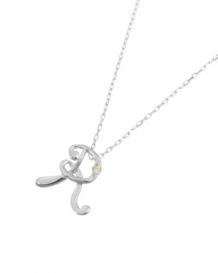 K18WG 天然ダイヤモンド1P イニシャル ネックレス・Rを見る